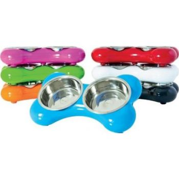 Hing The Bone Design Feeding Bowl for Dog, Small - Red
