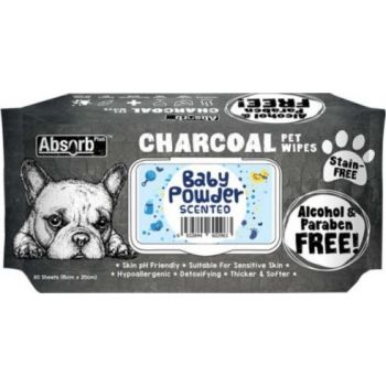 Absolute Pet Absorb Plus Charcoal Pet Wipes Baby Powder 80 Sheets 15cmx20cm