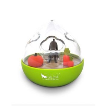 PLAY WOBBLE BALL INTERACTIVE TREAT DISPENSING DOG TOY GREEN