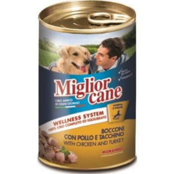 Miglior Cane Chunks with Chicken and Turkey Canned Dog Food, 1250g
