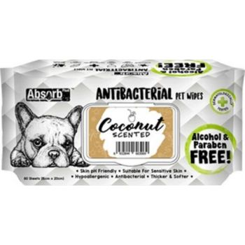 Absolute Pet Absorb Plus Antibacterial Pet Wipes Coconut 80 Sheets 15cmx20cm
