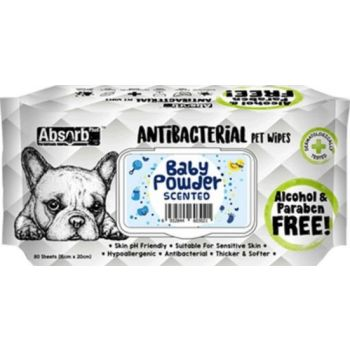 Absolute Pet Absorb Plus Antibacterial Pet Wipes Baby Powder 80 Sheets 15cmx20cm