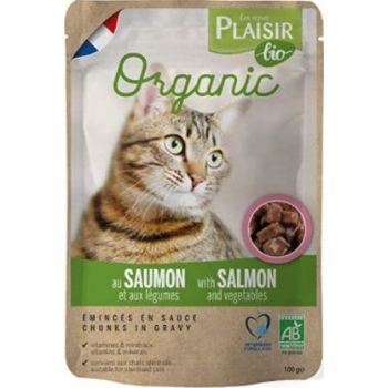 Plaisir Bio Complete Food for Cats, Chunks in Gravy with Salmon and Vegetables 100g