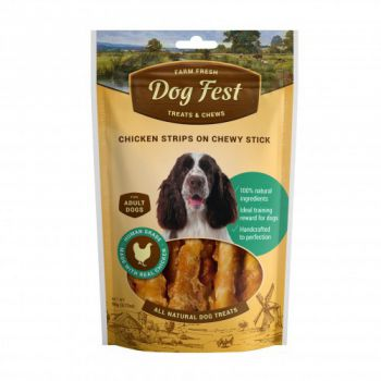 Dog Fest Chicken strips on a chewy stick for adult dogs - 90g (3.17oz)
