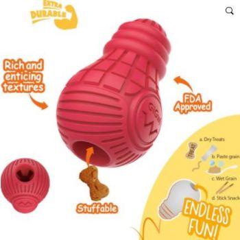 Red Bulb Dispensing Treat Dog Toy – Medium