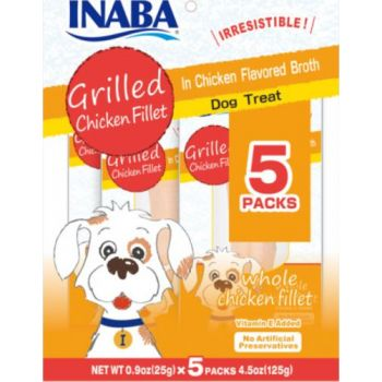 Inaba Grilled Chicken Fillet In Chicken Flavored Broth Dog Treat, 25g x 5pcs
