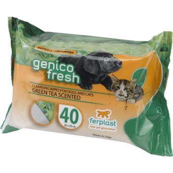 FERPLAST GENICO FRESH WIPES [GREEN TEA SCENTED] 30 x20cm- DOG/CAT-40 COUNT