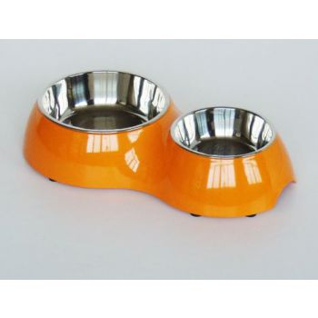 Pawsitiv Bowl Classic Round Dinner Set Orange M+L  (700ml + 350ml)