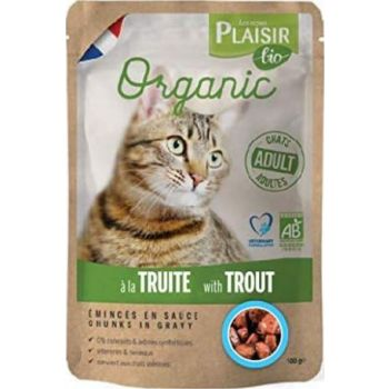 Plaisir Bio Complete Food for Cats, Chunks in Gravy with Trout 100g