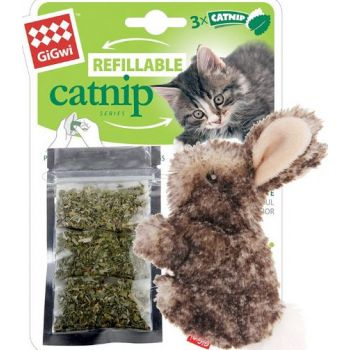 Cat Toys Rabbit Fluffy Plush  with 3 Refillable Catnip Bags