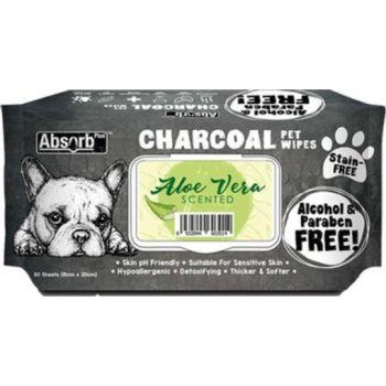 Absolute Pet Absorb Plus Charcoal Pet Wipes Aloe Vera 80 Sheets 15cmx20cm