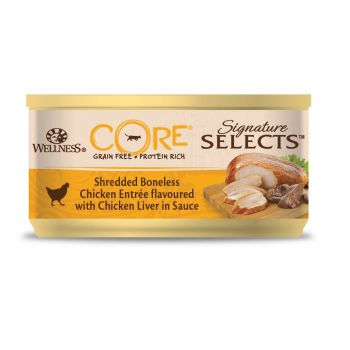 Wellness CORE Signature Selects Shredded Boneless Chicken Entree flavoured with Chicken Liver in Sauce for Cat, 79g
