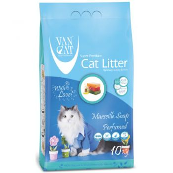 Van Cat White Clumping Bentonite Cat Litter Marseille Soap 10Kg
