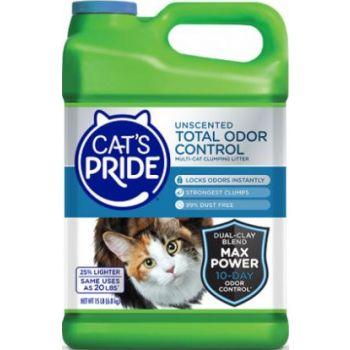 Cat's Pride Total Odor Control Un Scented Cat Litter, 15 lb