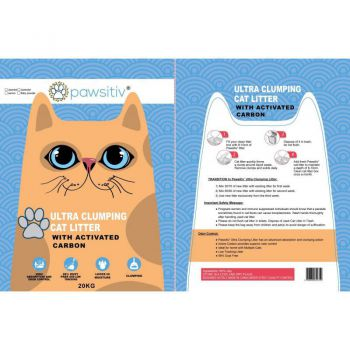 Pawsitiv Ultra Clumping Litter With Activated Carbon Baby Powder 20KG