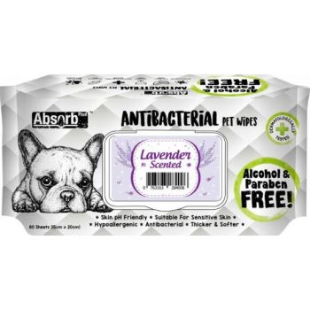 Absolute Pet Absorb Plus Antibacterial Pet Wipes Lavender 80 Sheets 15cmx20cm