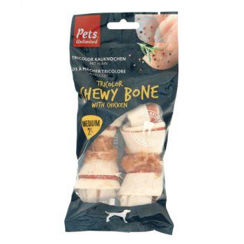 Pets Unlimited Dog Treats Tricolor Chewy Bone w/ Ckn M 2pcs