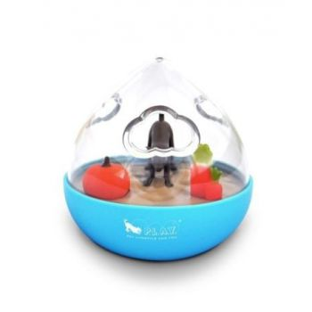 PLAY WOBBLE BALL INTERACTIVE TREAT DISPENSING DOG TOY Blue