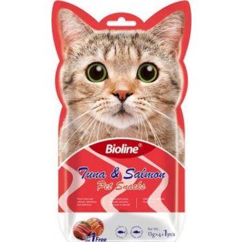 Bioline Cat Treats - Tuna & Salmon 5x15g