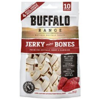 Buffalo Range Natural, Grain Free Jerky Mini Bone Rawhide Chews for Dogs 137.5g