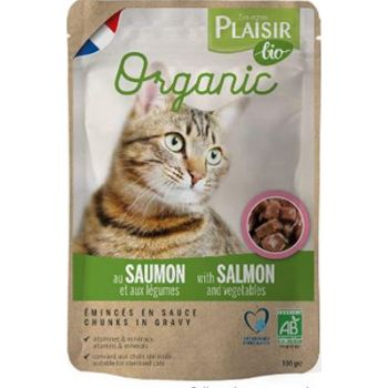 Plaisir Bio Complete Salmon and Vegetables Wet Cat Food, 100 g