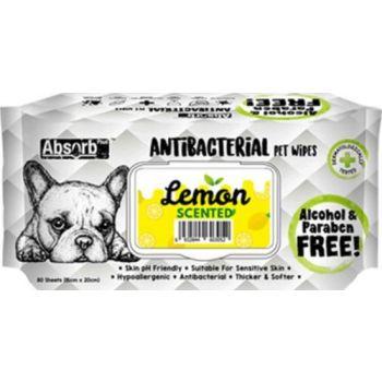 Absolute Pet Absorb Plus Antibacterial Pet Wipes Lemon 80 Sheets