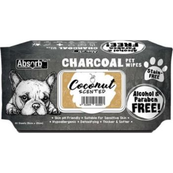 Absolute Pet Absorb Plus Charcoal Pet Wipes Coconut 80 Sheets 15cmx20cm