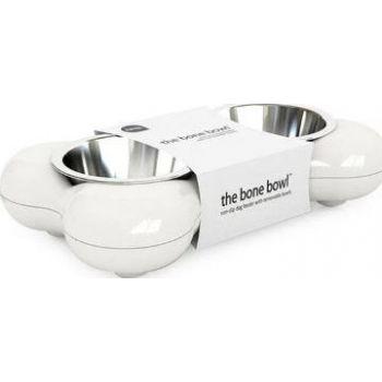 Hing The Bone Design Feeding Bowl for Dog, Small - White