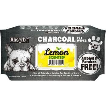 Absolute Pet Absorb Plus Charcoal Pet Wipes Lemon 80 Sheets 15cmx20cm