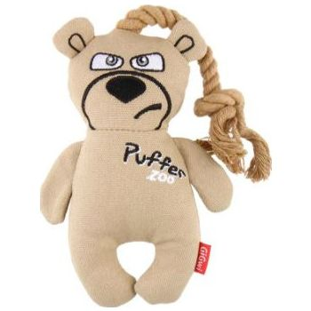 Puffer Zoo Bear Canvas Fabric with Rope Handle Dog Toy