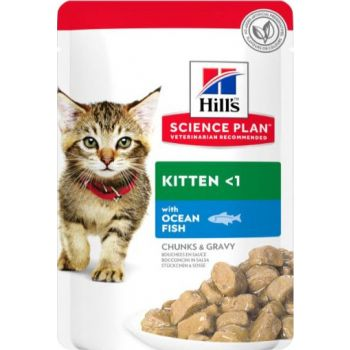 Science Plan Tender Chunks In Gravy Kitten Wet Food With Ocean Fish Pouches (12x85g)