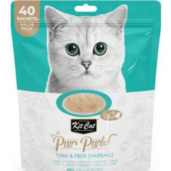 Kit Cat Wet Food Purr Puree Tuna & Fiber (Hairball) (40 Sachets Value Pack)