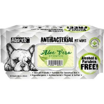 Absolute Pet Absorb Plus Antibacterial Pet Wipes Aloe Vera 80 Sheets 15cmx20cm