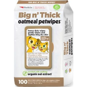 Petkin Big N' Thick Oatmeal Petwipes 100ct