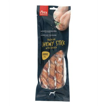 Pets Unlimited Tricolor Chewy Sticks w/ Ckn L 3pcs