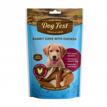 Dog Fest Rabbit ears with chicken for puppies - 90g (3.17oz)