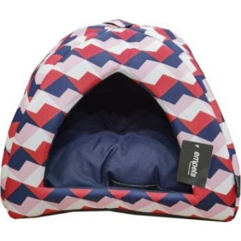 Empets Cat House With Cushion tri Color 34x34x27h