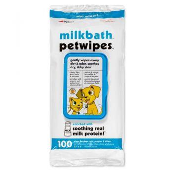 Petkin Milk bath Pet wipes - 100ct
