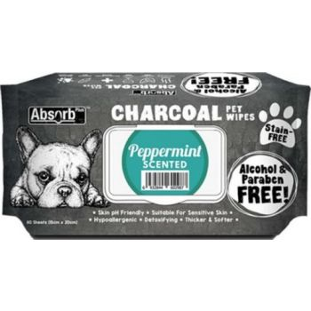 Absolute Pet Absorb Plus Charcoal Pet Wipes Peppermint 80 Sheets 15cmx20cm