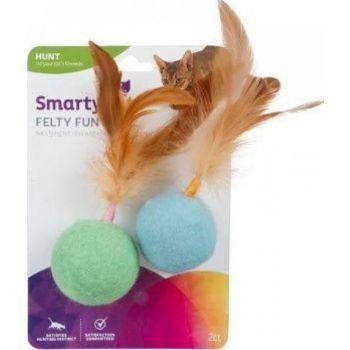 SmartyKat® Felty Fun™ Set Of 2 Wool Felt & Feather Balls Cat Toys