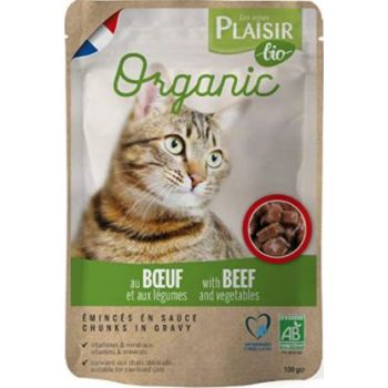 Plaisir Bio Complete Food for Cats, Chunks in Gravy with Beef and Vegetables 100g