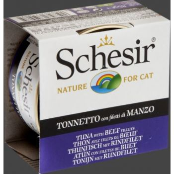 SCHESIR CAT CAN JELLY TUNA/BEEF 85GM (C141)